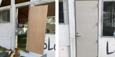 FCレアーレの保護者の方のご寄付で、ロログラウンドに新しいドア!